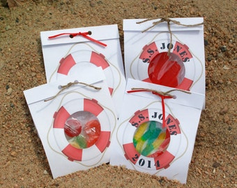Nautical Life Preserver Party Favor Card Personalized***Boat Water Fishing Sailing Swimming