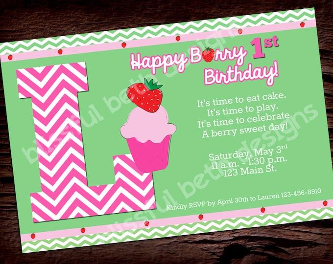 BERRY BIRTHDAY INVITATION Berry Birthday Invitation, Printable Strawberry Invitation, Strawberry, Personalized Berry Invitation
