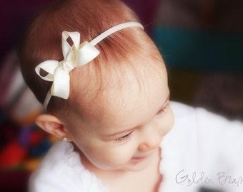 Ivory Baby girl Bow - Flower Girl Headband - Ivory Boutique Bow Handmade Headband - Baby to Adult Headband