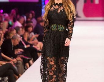 Black Vintage Lace Victorian Edwardian Inspired Maxi Dress