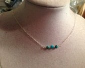 Turquoise Necklace - Children Turquoise Jewelry - Bead Bar - Sterling Silver Jewelry - Chain Jewellery - Fashion - Gemstone