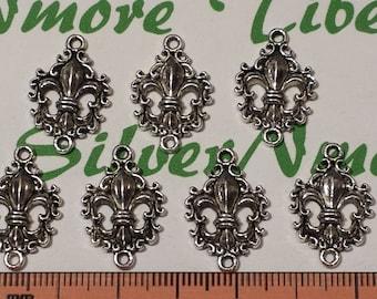 12 pcs per pack 24x16mm Fleur De Lis Cu out Link Antique Silver Finish Lead Free Pewter