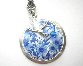 Blue and White Floral Antiqued Silver Pendant with Sparrow