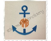 Anchor Monogram Frame Machine Embroidery Design - 4 Sizes