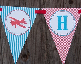 Airplane Birthday Banner - Red & Turquoise - Customized DIY Printable Birthday Banner