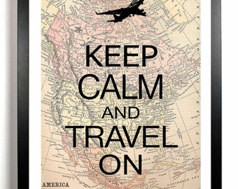 Keep Calm and Travel On art print, Airplane, jet, wall decor