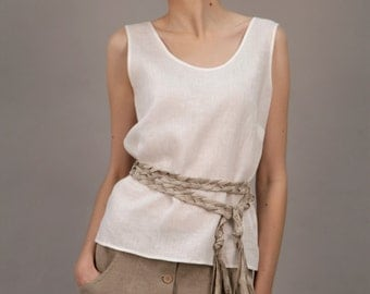 Linen White Top Simplicity/ Linen Blouse Sleeveless/ Linen Tank