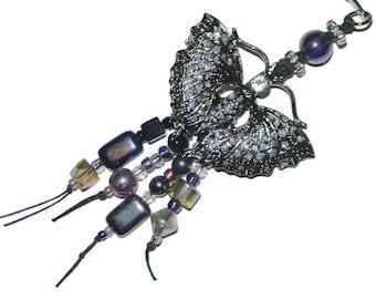 Black Nickel Dark Grey Rhinestone Moth Beaded Metal Bookmark with Free Journal OOAK
