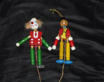 Clown and Japanese Man Lot 2 Vintage Jumping Jack Toys Wood Pull String Wooden Dolls Made in Japan Dolls