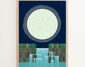Mid-century print. 2014 Calendar typographic poster. Moon Over Waterfall, double sided print.