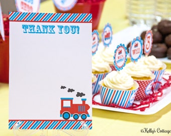 Vintage Train Birthday Party Thank You Notes (5x7), Instant Download, Printable, Digital