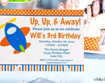 Airplane Birthday Party Invitation.... Custom, Printable, Digital