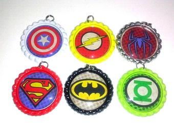 bottle cap necklace superhero party favor set batman superman spiderman green lantern flash captain america