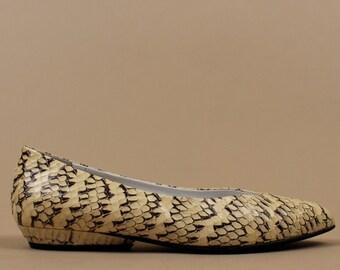 80s Vtg Genuine SNAKESKiN Python Ballet Flats / Low Heel - Leather Sole / Punk New Wave 6 - 6.5 Euro 36.5 - 36