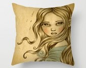 Soft Woven Linen Pillow with Printed Nymph Illustration, Artistic Home Decor with art by Amalia K - TheWishForest