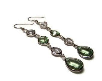 CLEARANCE...Long Green and Clear Earrings
