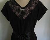 1950s Black Lace and Taffeta Party Dress Gloria Swanson