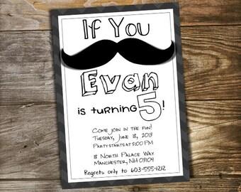 Kids Mustache Birthday Party Invitation Printable - Customized Little Man Invitation / Boys Party Invite / Toddler First Birthday Invitation