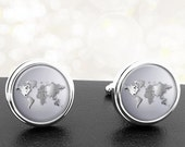 Cufflinks World Maps in Metallic Silver Handmade Cuff Links Fathers Dads Men French Cuff Accessory