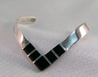 C1970's -1980's Sterling Triangular Cuff Bracelet with Onyx Accents