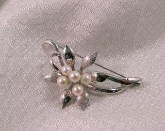 Vintage Cultured Pearls and Silver Flower Brooch, Wedding Brooch