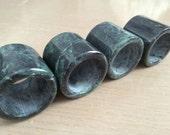 30% OFF SALE Set of 4 Malachite-Like Green Stone Napkin Ring Holders