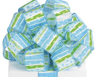 """Blue, White and Lime Green """"Dots & Stripes"""" 1-1/2""""W x 5YDS Wired Edge Satin Ribbon"""