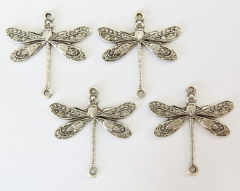 4 brass connectors, dragonfly, 17x17mm, antique silver