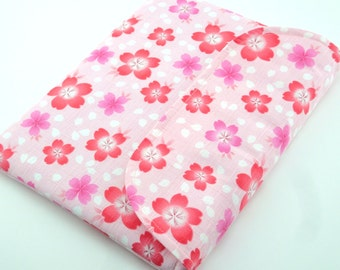 SALE Cherry blossoms iPad 2 case fabric ipad 4 sleeve handmade ipad cover oblong Flap closure cherry blossoms pink