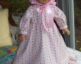 American Girl doll or 18 inch doll dress, bonnet, and pantaloons. Floor length ruffle dress with pink roses.