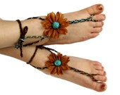 Steppin' Stone barefoot sandals earthy flower turquoise hippie