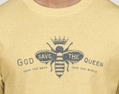 Mens tee, God save the queen - Save the bees Save the world - mens t-shirt -yellow