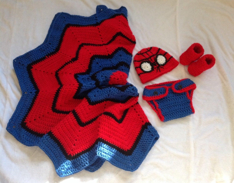 Crochet Pattern For Spiderman Blanket : Handmade Crochet Spiderman blanket and outfit spiderman