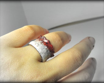 enameled copper ring, red, white, contemporary jewelry, designer ring, bend ring, wide ring