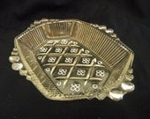 Rib and bead pattern glass relish mid century vintage glassware