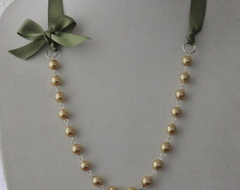 Gold Pearl and Sage Green Ribbon Bow Necklace