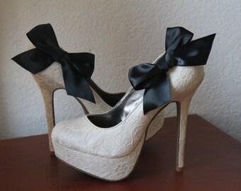 Black Ribbon Bow Shoe Clips - 1 Pair