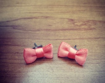 Coral Ribbon Bow Earrings