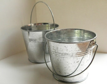 "Silver Galvanized  Bucket - 3"" metal bucket, small pail, party favor bucket, wedding favor bucket, rustic wedding decor, bucket planter"