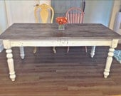 6 Foot Family Farm Table with Monogram - Handmade with Reclaimed Wood by Arcadian Cottage