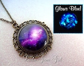 Purple Galaxy Necklace Glow in the Dark Jewelry Space Nebula - Vintage Style Pendant Necklace - Galaxy Jewelry Sci Fi Necklace