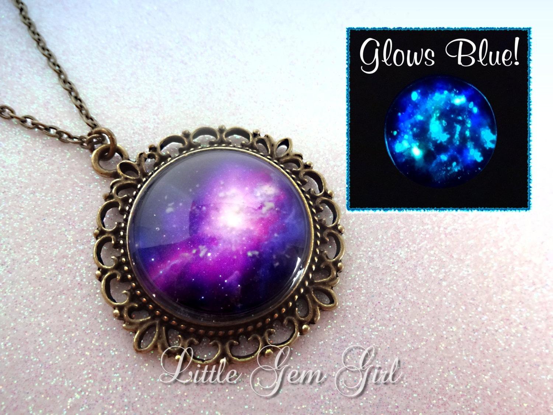 purple galaxy necklace glow in the dark jewelry space nebula