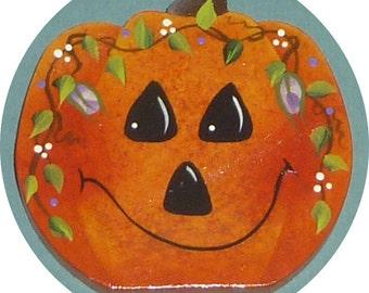 Halloween Pumpkin Pin/Magnet  Wood Hand Painted