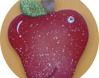 Apple Pin/Magnet Hand Painted Wood Teacher