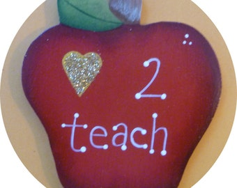 Love to Teach  Apple   Pin/Magnet  Red Hand Painted Wood