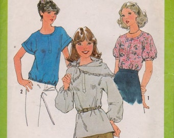 Simplicity 8341 Misses' Pullover Top and Scarf Pattern, SIze 10, Bust 32 1/2, UNCUT, Vintage, 1977