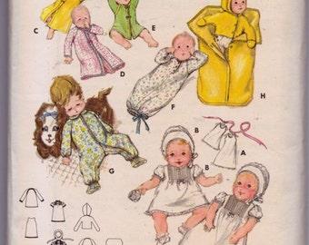 Butterick 5102 Layette Pattern, UNCUT, One Size, Vintage, 1970's, Baby Layette, Bunting, Jacket, Jumpsuit, Kimono, Bonnet, Dress, Petticoat