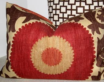 24 x 12 Lumbar rectangle long Fahri Clove ikat pillow cover rust red brown orange fall orange