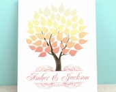 Spring Guest Book Canvas - Wedding Guest Book Alternative -Seaswik- Peachwik Interactive Gallery Wrapped Canvas - 50 guests  Wedding Tree