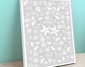 Guest Book Gallery Wrapped Canvas -  Sea Shells- Peachwik Canvas Art Print - 100 guest sign in - Beach, Shells, Sand Dollar, Nautical Events